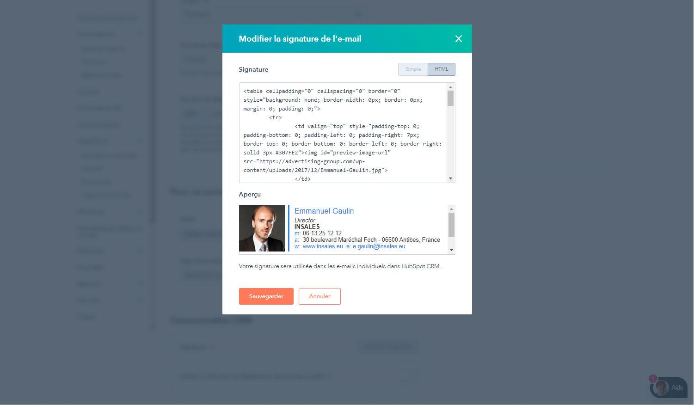 HubSpot CRM : Signature email