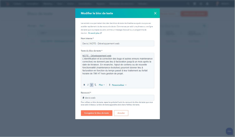 HubSpot Sales : Bloc de texte