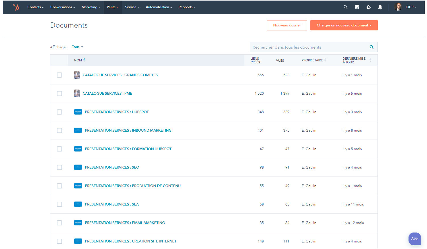 HubSpot Sales : Documents commerciaux